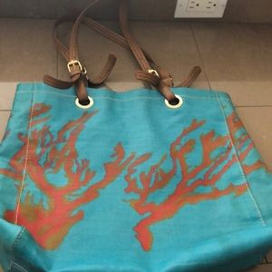Sakroots handbag purse large teal and coral